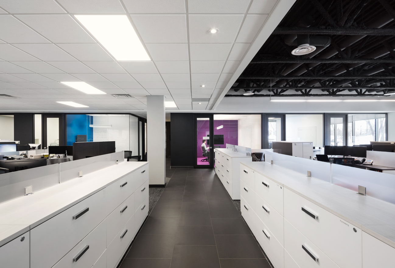 Open office area in white with a blue and a purple accent wall and floor
